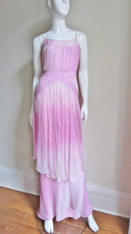 2000s John Galliano Pink Silk Ombre Dress For Sale 2