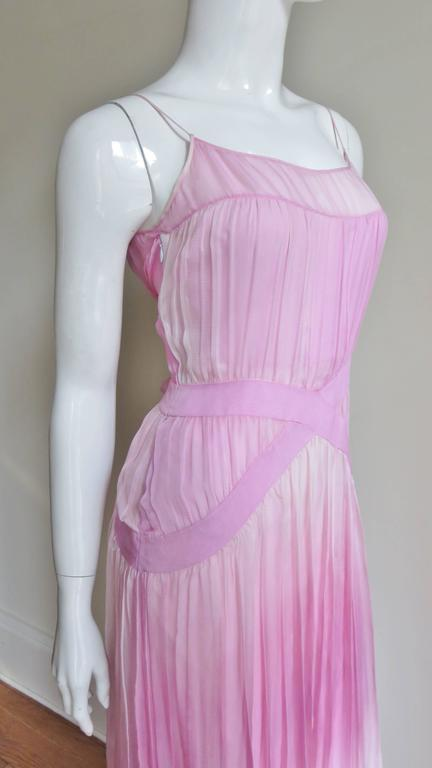 2000s John Galliano Pink Silk Ombre Dress In Good Condition For Sale In New York, NY