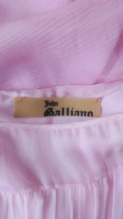 2000s John Galliano Pink Silk Ombre Dress For Sale 5