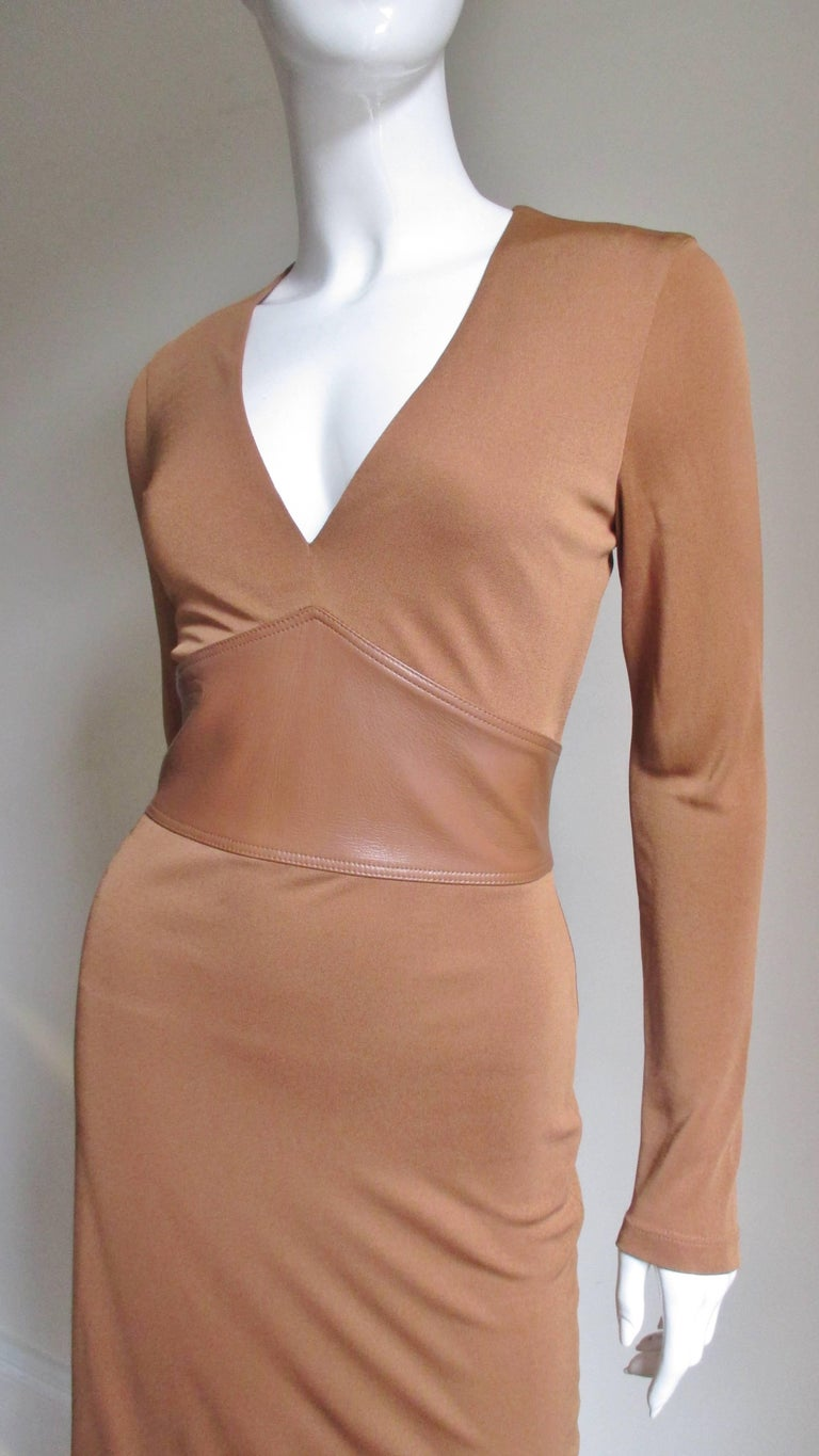 Brown Gianni Versace Caramel Silk Dress with Leather Waist For Sale