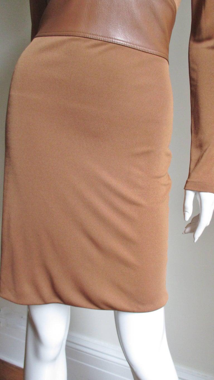 Women's Gianni Versace Caramel Silk Dress with Leather Waist For Sale