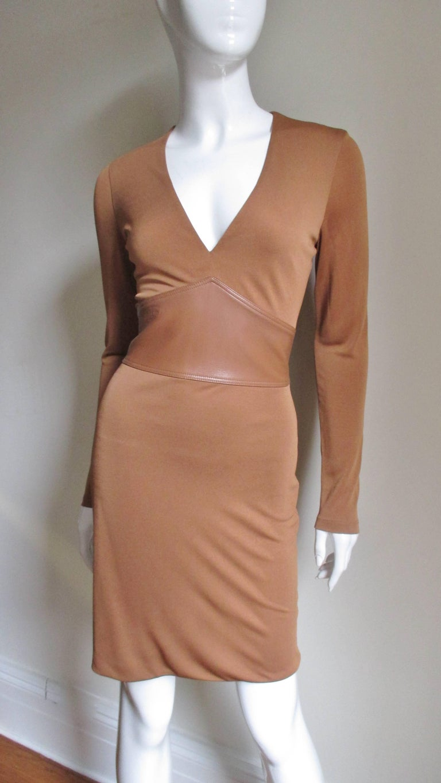 Gianni Versace Caramel Silk Dress with Leather Waist For Sale 1