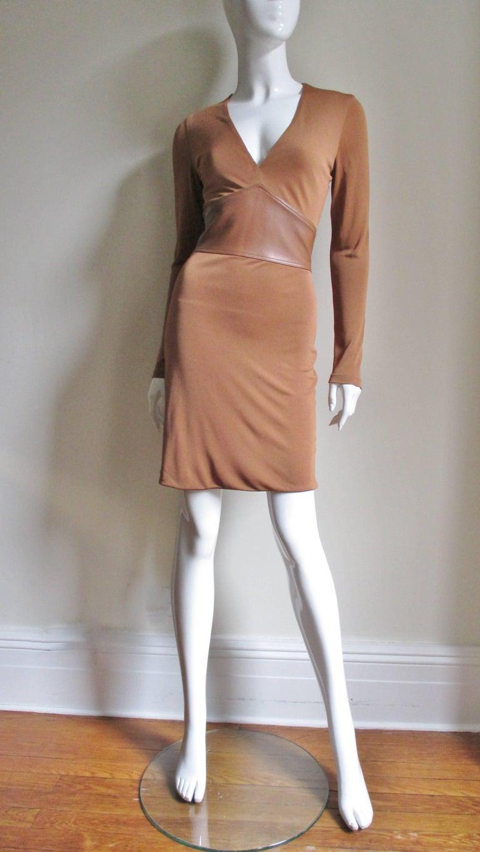 Gianni Versace Caramel Silk Dress with Leather Waist For Sale 2