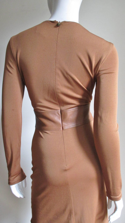 Gianni Versace Caramel Silk Dress with Leather Waist For Sale 4