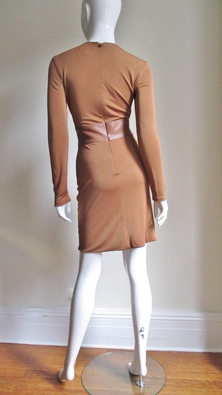 Gianni Versace Caramel Silk Dress with Leather Waist For Sale 5