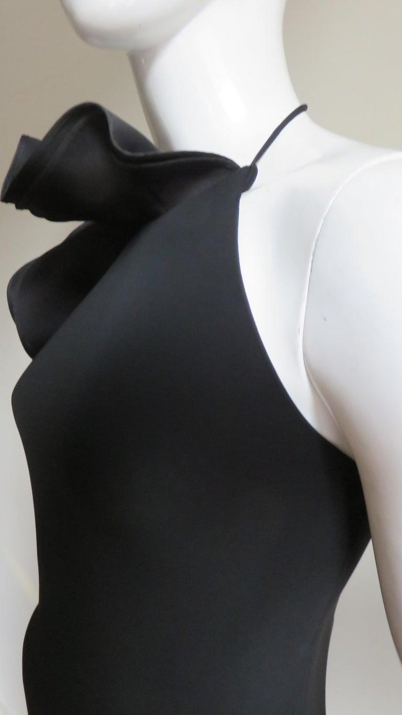 Women's Gucci Organza Ruffle Neck Halter Dress