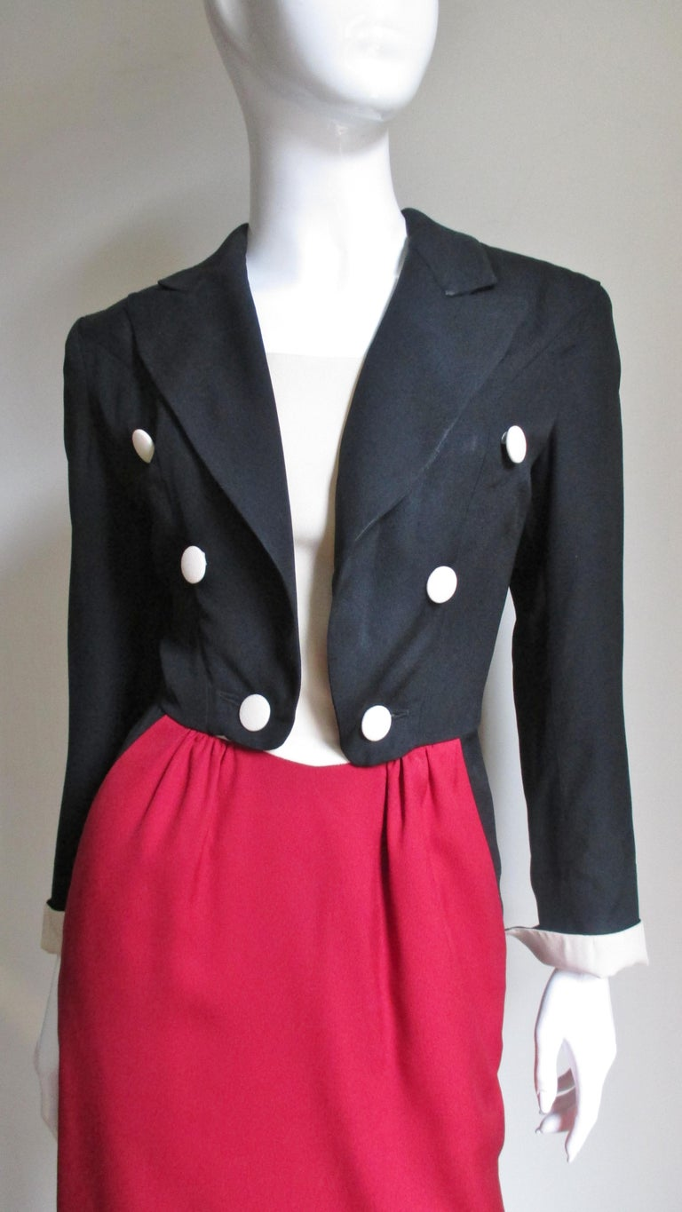 Women's 1990s Moschino Couture Ringmaster Tuxedo Dress For Sale