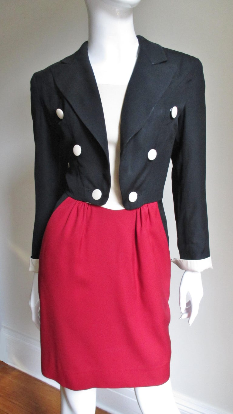 Red 1990s Moschino Couture Ringmaster Tuxedo Dress For Sale