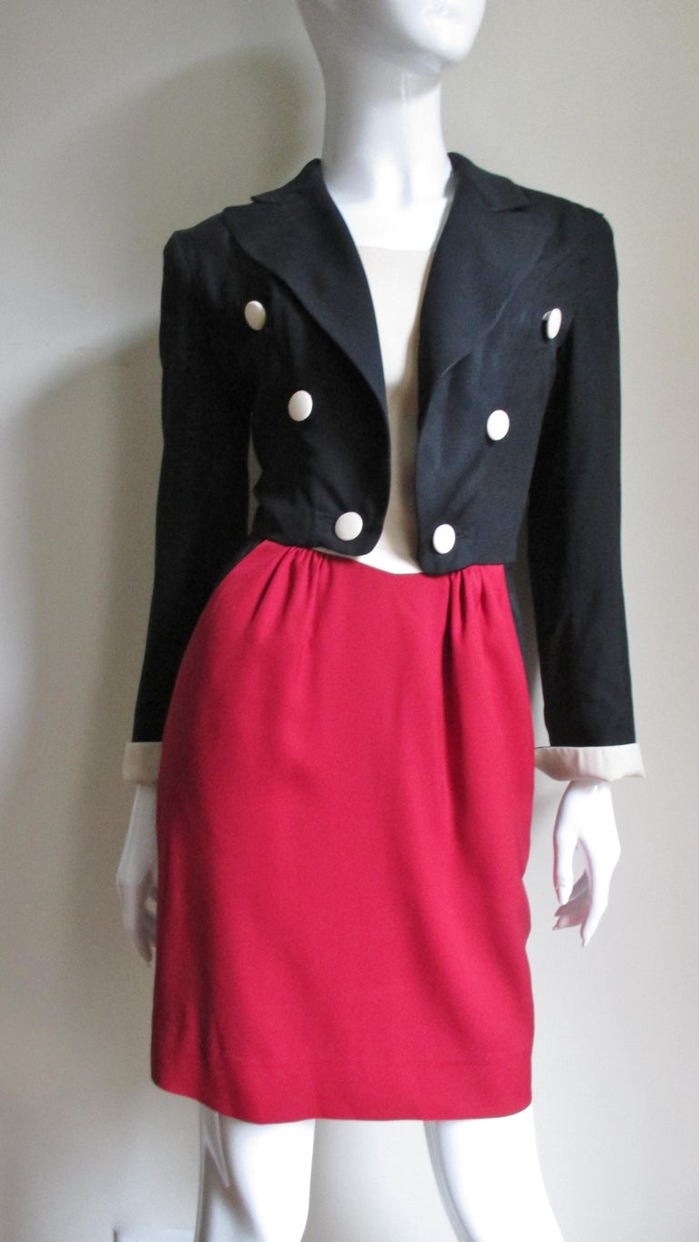 1990s Moschino Couture Ringmaster Tuxedo Dress For Sale 3