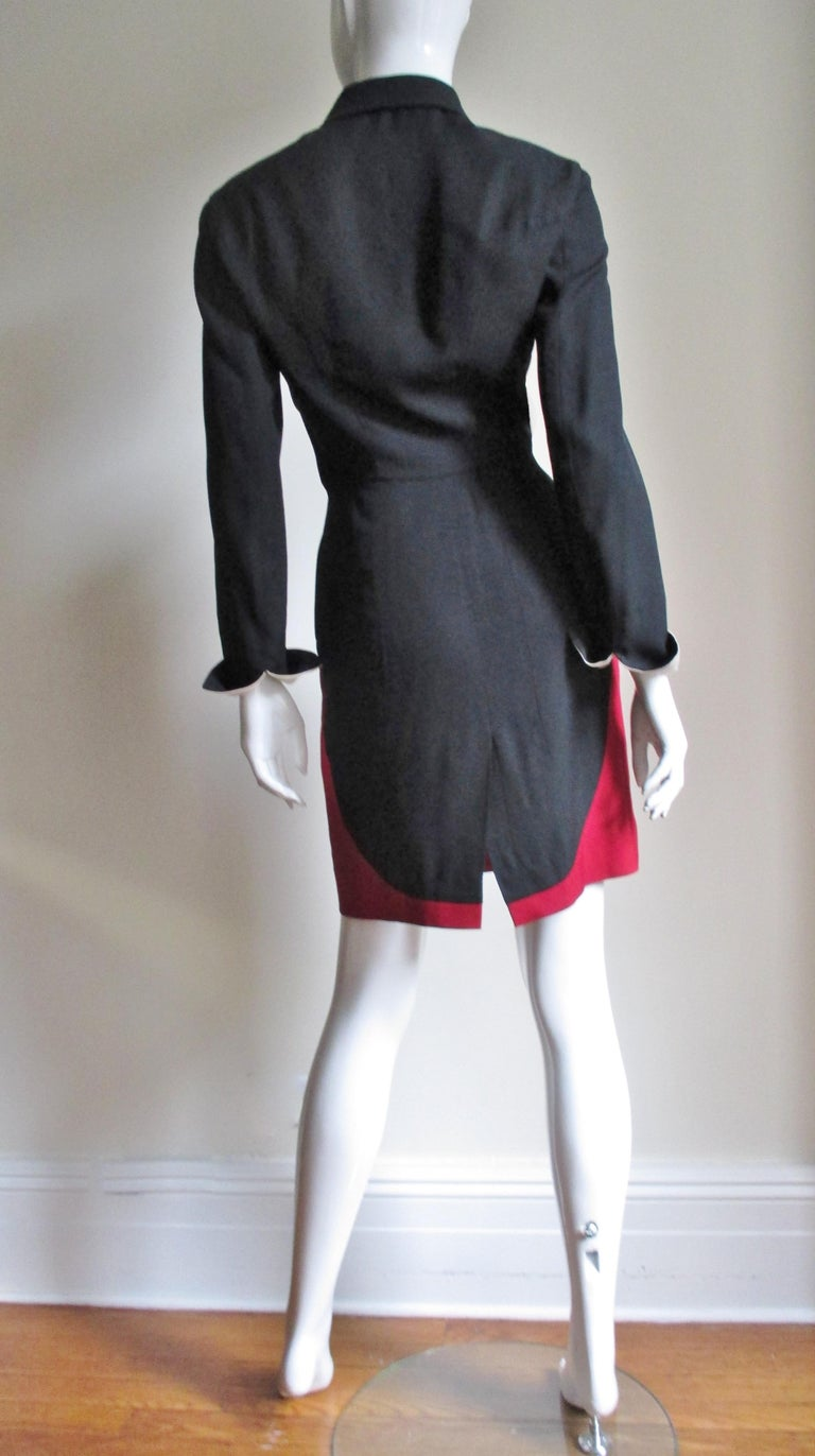 1990s Moschino Couture Ringmaster Tuxedo Dress For Sale 9