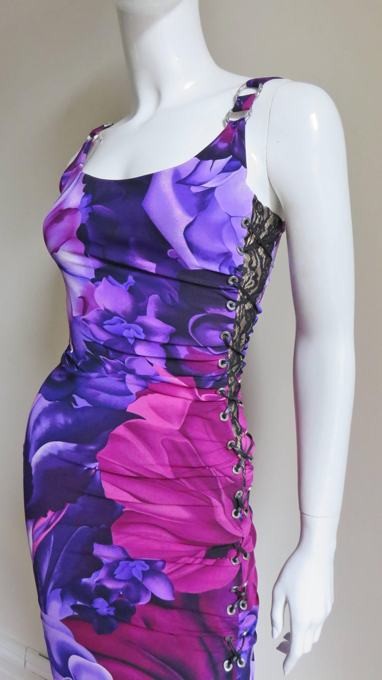 Versace Side Lace up Silk Dress In Good Condition For Sale In New York, NY
