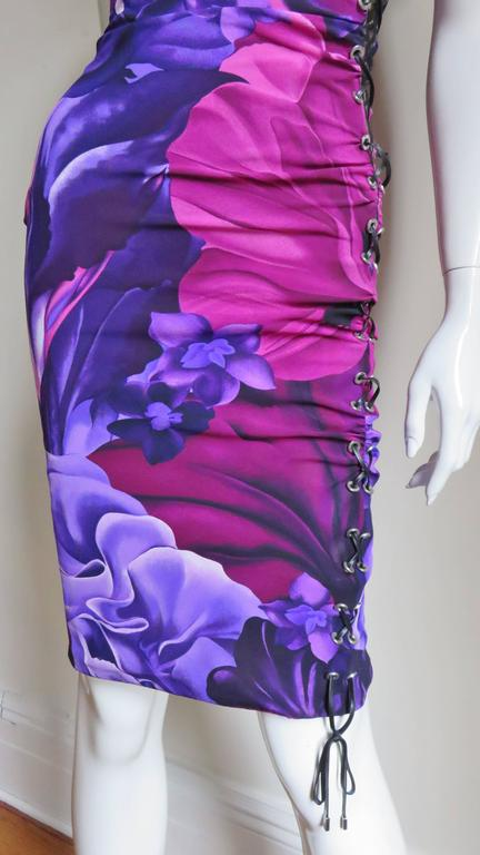Versace Side Lace up Silk Dress For Sale 1