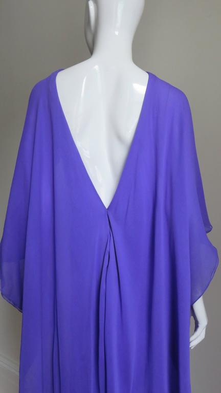 Extraordinary Rare Vintage Halston Plunge Back Caped Sheath 7