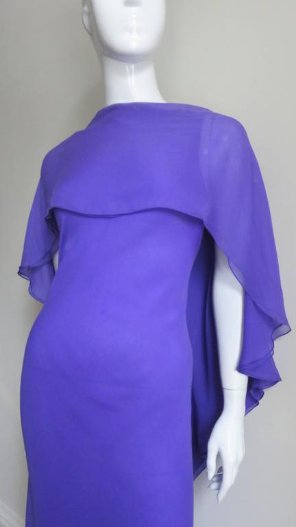 Extraordinary Rare Vintage Halston Plunge Back Caped Sheath 3