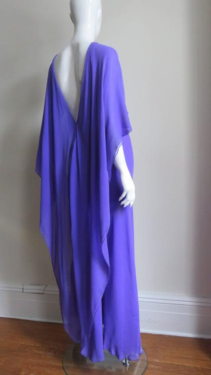 Extraordinary Rare Vintage Halston Plunge Back Caped Sheath 6