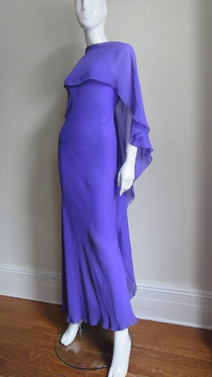 Extraordinary Rare Vintage Halston Plunge Back Caped Sheath 4