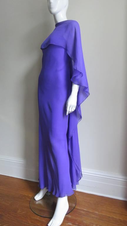 Extraordinary Rare Vintage Halston Plunge Back Caped Sheath 5