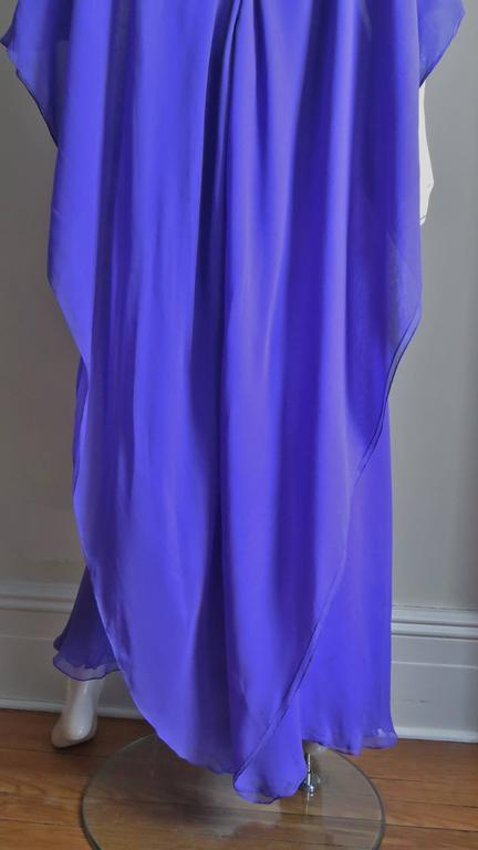 Extraordinary Rare Vintage Halston Plunge Back Caped Sheath 8