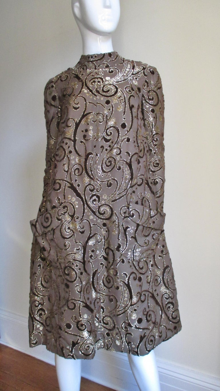 1970's Pauline Trigere Belted Silk Tent Dress For Sale 5