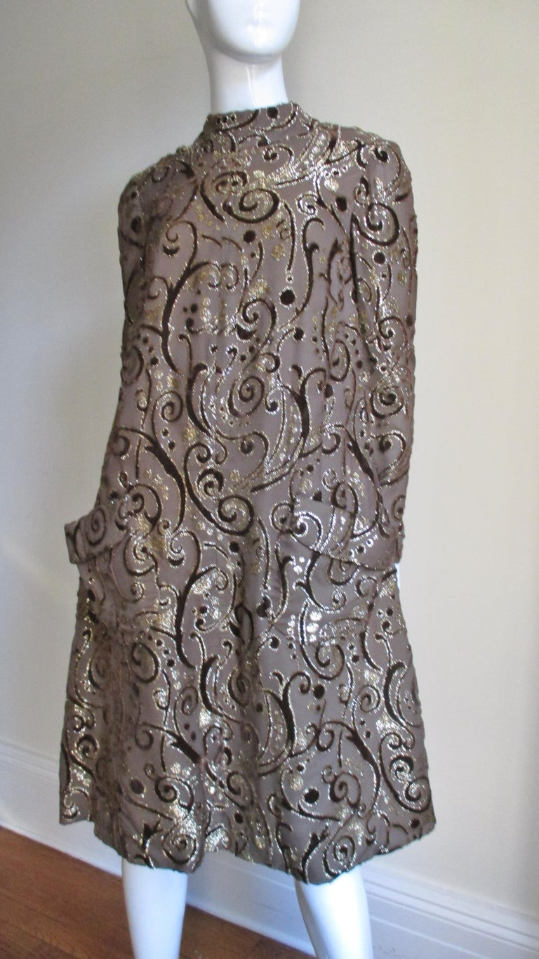 1970's Pauline Trigere Belted Silk Tent Dress For Sale 3