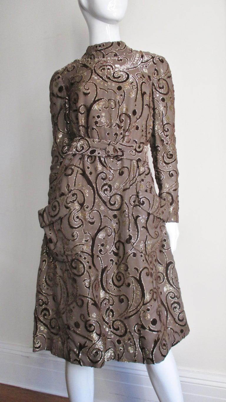 Black 1970's Pauline Trigere Belted Silk Tent Dress For Sale