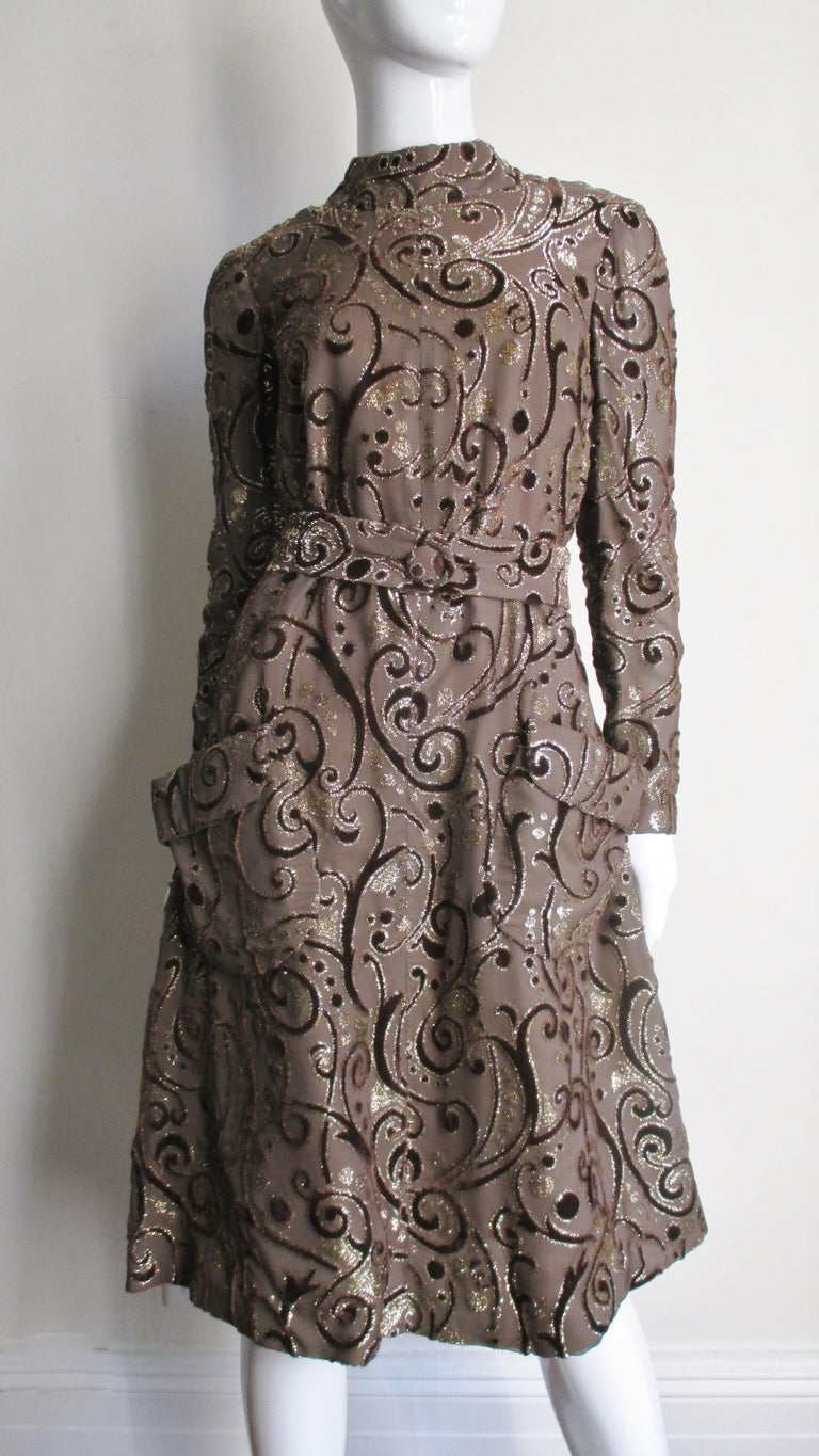 1970's Pauline Trigere Belted Silk Tent Dress For Sale 6