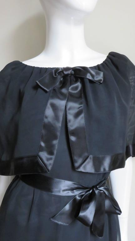 Black Travilla Dress with Capelet 1970s For Sale