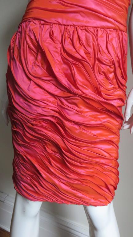 Women's Louis Feraud Adjustable Ruffles Dress 1980s For Sale