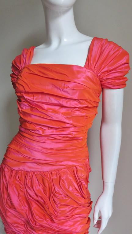 Red Louis Feraud 1980s Wire Edge Ruffles Dress For Sale