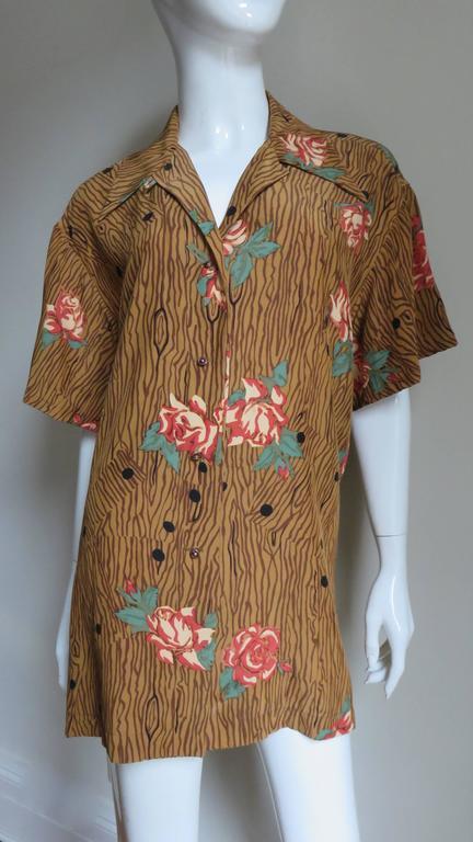 1980s Todd Oldham Vintage Horse Back Silk Shirt 4