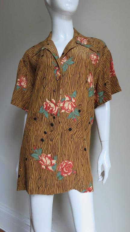 1980s Todd Oldham Vintage Horse Back Silk Shirt 5