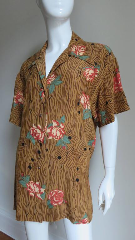 1980s Todd Oldham Vintage Horse Back Silk Shirt 3