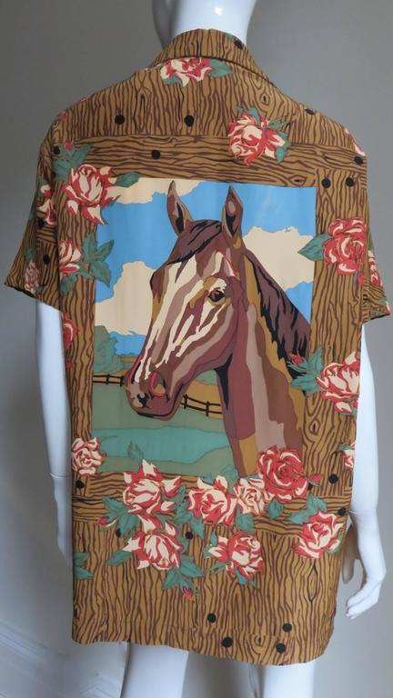 1980s Todd Oldham Vintage Horse Back Silk Shirt 7