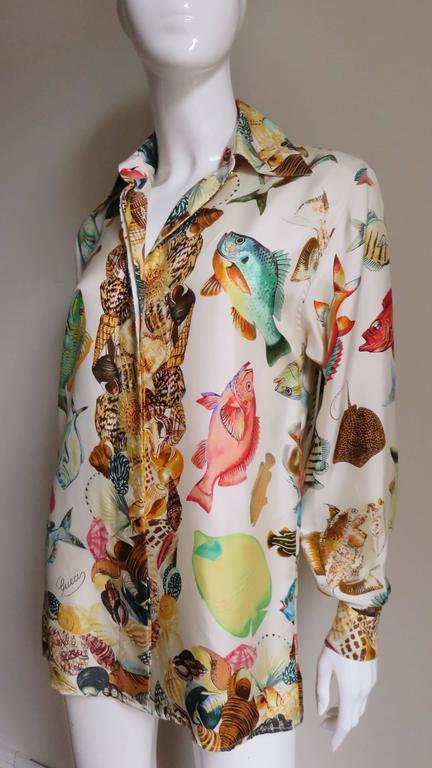 Beige 1990s Gucci Silk Fish Print Shirt For Sale