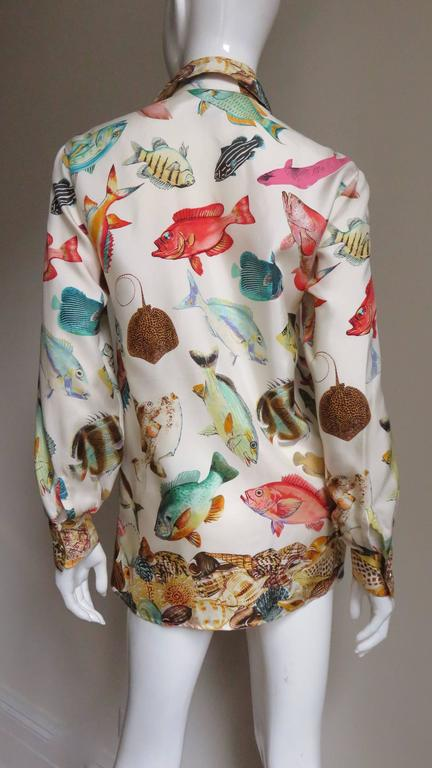 1990s Gucci Silk Fish Print Shirt For Sale 2