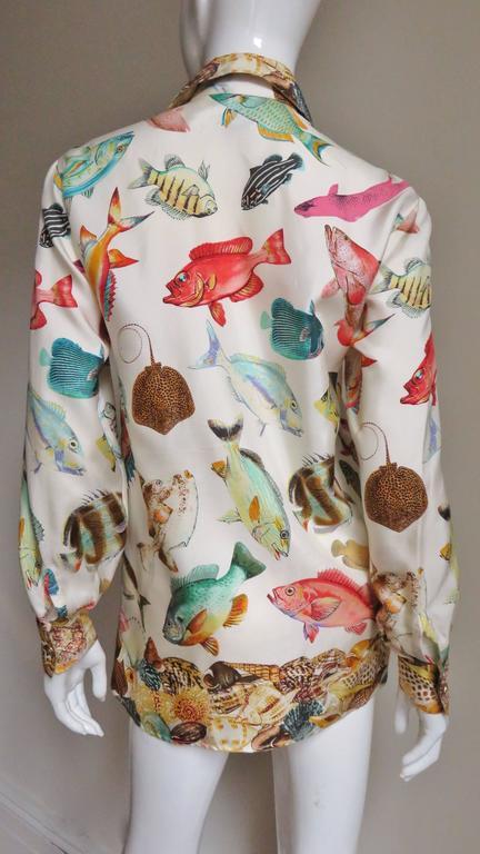 1990s Gucci Silk Fish Print Shirt 6