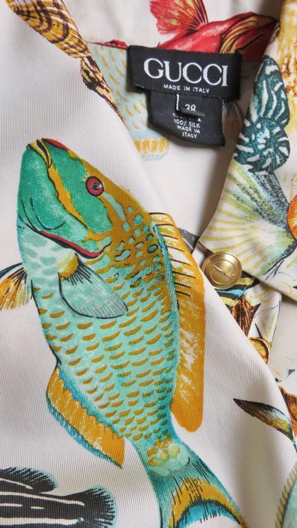 1990s Gucci Silk Fish Print Shirt 9