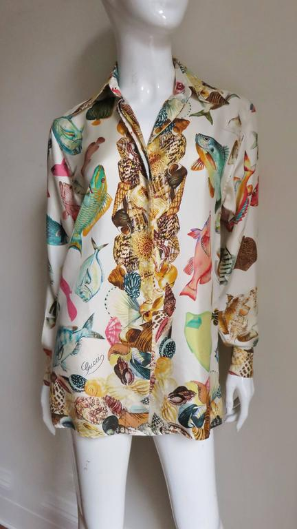 Women's 1990s Gucci Silk Fish Print Shirt For Sale