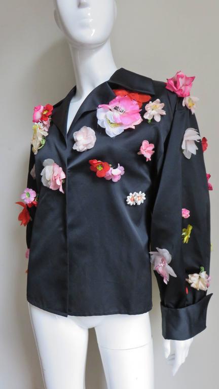 Women's 1970's New Bill Blass Flower Covered Shirt or Jacket For Sale