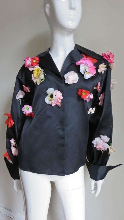 1970's New Bill Blass Flower Covered Shirt or Jacket For Sale 1