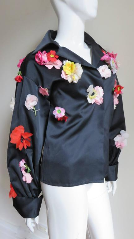 1970's New Bill Blass Flower Covered Shirt or Jacket In New Never_worn Condition For Sale In New York, NY