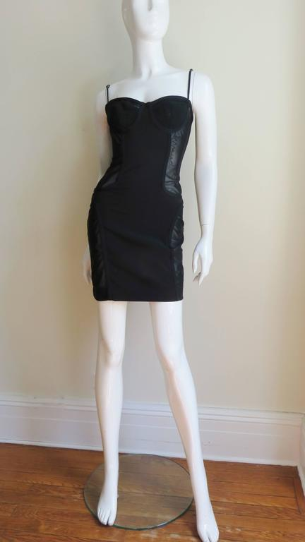 1990s Moschino Vintage Coset Style Dress With Sheer Panels 5