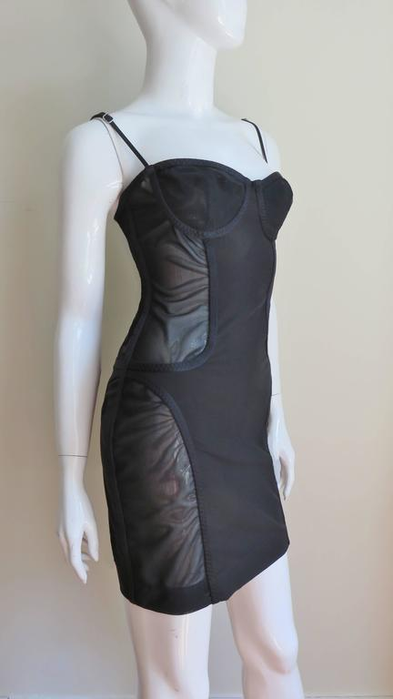 1990s Moschino Vintage Coset Style Dress With Sheer Panels 6