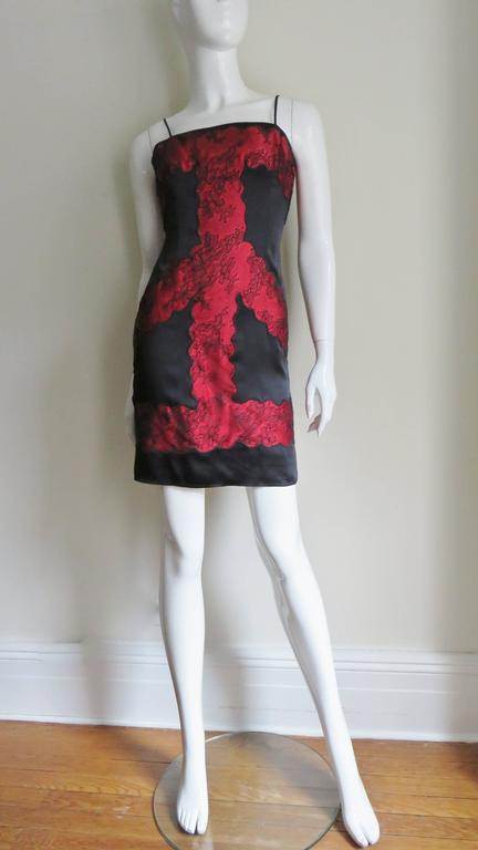 Moschino Color Block Silk & Lace Slip Dress In Excellent Condition For Sale In New York, NY