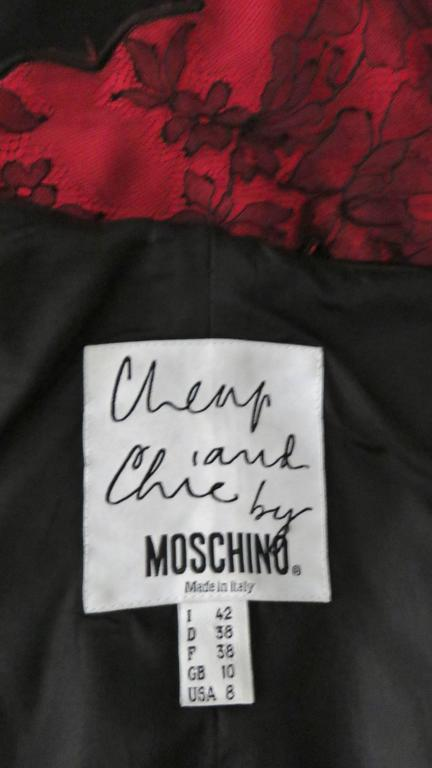 Moschino Color Block Silk & Lace Slip Dress For Sale 3