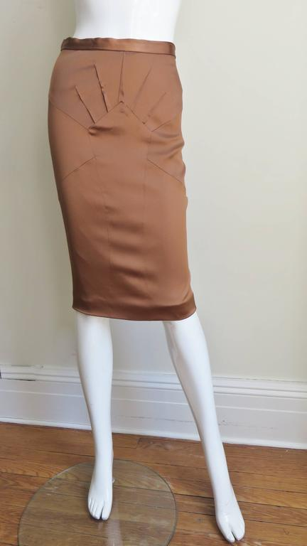Dolce & Gabbana New Bronze Silk Skirt In Excellent Condition For Sale In New York, NY