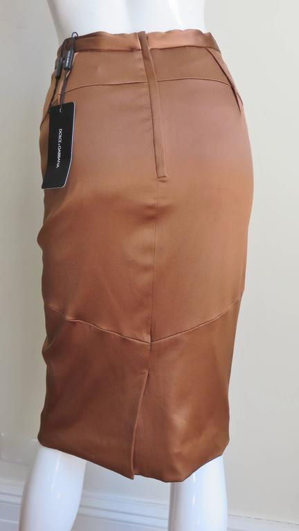 Dolce & Gabbana New Bronze Silk Skirt For Sale 1