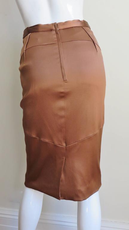Women's Dolce & Gabbana New Bronze Silk Skirt For Sale
