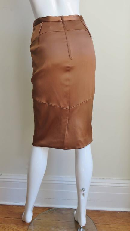 Dolce & Gabbana New Bronze Silk Skirt For Sale 2