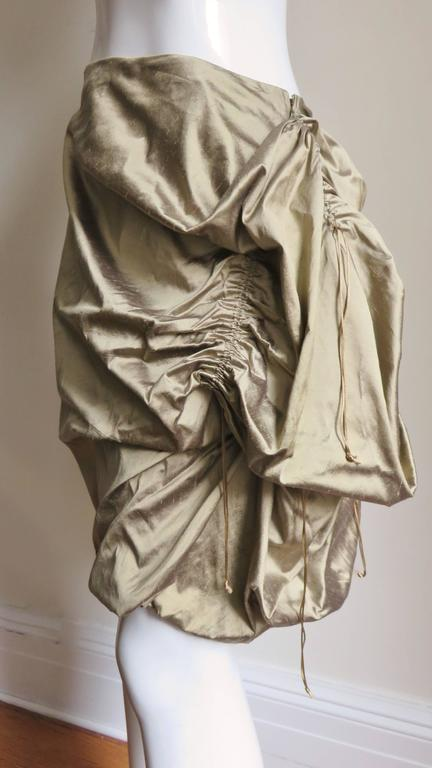 Brown 1990s Christian Lacroix Sculptural Silk Skirt For Sale